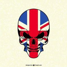 Calavera con bandera de Reino Unido