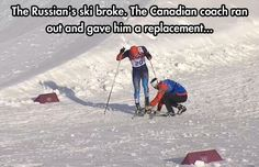 This is the Canadian spirit of fair play! Canadian cross-country coach Justin Wadsworth lends a ski to Russian skier. Canada Funny, O Canada, Canadian Stereotypes, Meanwhile In Canada, Canadian Things, Faith In Humanity Restored, Winter Olympics, Trainer, Cross Country