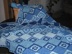 Traditional Blue Crocheted Blanket