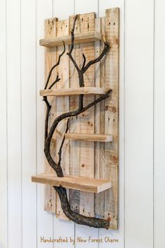Rustic Home Decor Wall Art Reclaimed Pallet Shelves Wooden Home Decor 4 Shelf Tree Branch by NewForestCharm on Etsy #HandmadeHomeDecor