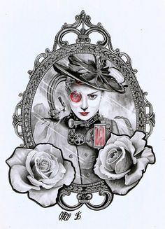 Woman in mirror with roses - Custom design