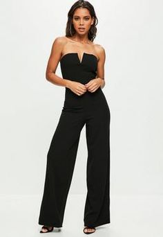 Tall Black V Bar Bandeau Wide Leg Jumpsuit / Missguided