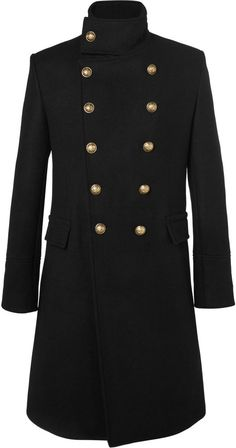 Balmain Slim-Fit Double-Breasted Cashmere Overcoat- 7112style.website -