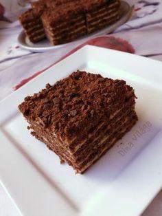Király krémes, avagy csokis-karamellás marlenka Hungarian Recipes, Hungarian Food, Cake Bars, Minden, Tiramisu, Recipies, Cookies, Baking, Ethnic Recipes