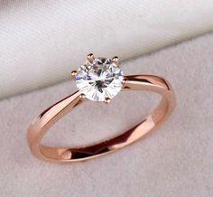 높은 품질 우아한 1.2ct 골드 도금 큰 CZ 다이아몬드 반지 6 프롱 신부 웨딩 링 여성 도매