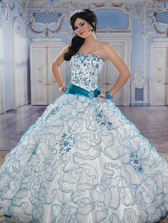 White Quinceanera Dresses - White Dress With Blue Details
