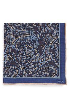 Men's W.R.K Floral Linen Pocket Square - Blue
