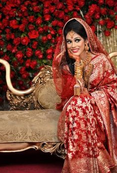 Beautiful Red Traditional Katan Wedding Saree in Bangladesh. Learn about different types of Asian traditional wear