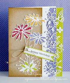 Love these Dies....  Glorious Gerber Dasies #98904 and Kensington Border #98743  by Memory Box...  Card by Pam Sparks...outside the box    05/21/14