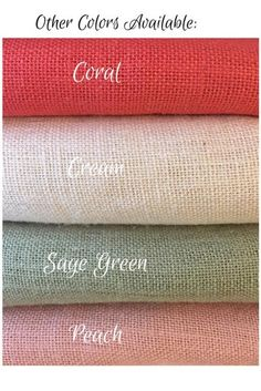 Pink Burlap Rose Trio with Burlap Leaves Farmhouse wedding image 9 Colored Burlap, Color Combinations For Clothes, Colour Pallete, Color Palettes, Ideas Hogar, Burlap Fabric, Burlap Flowers, Fabric Names, Color Shades