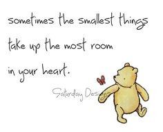 Winnie the Pooh.Sometimes the smallest things take up the most room in your heart. Thinking of my little, Pooh loving Brookie! Small Quotes, Great Quotes, Quotes To Live By, Me Quotes, Motivational Quotes, Inspirational Quotes, Quotes Images, Famous Quotes, Book Quotes