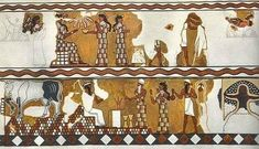 Mural from the Akkadian city of Mari, circa 1800 B.C. The details of the painting are given in the Images section. The painting is typically.Sumerian in its subjet matter and appearance (except for the clothes)The picture shows the continuing influence of the sumerian civilization two centuries after it was destroyed.