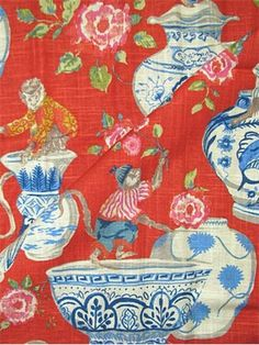 "Monkey Jars Fiesta - Dena Home Fabric, beautiful print from Fresh Canvas Collection, drapery fabric, light use upholstery fabric, pillow fabric, headboard fabric. 55% linen, 45% rayon. Repeat; V 27"" - H13.5"". 54"" wide. 15,000 double rubs. Permission has been granted by DENA HOME to display copyrighted designs. Product Designs © DENA HOME. All rights reserved."