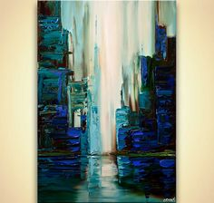 blue green city abstract painting textured cityscape painting