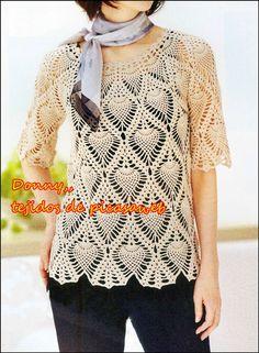 crochet fabric , CROCHET - GANCHILLO - PATRONES - GRAFICOS: very elegant blouse woven crochet