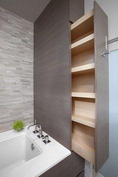 Organizacja łazienki, porządek w łazience, design łazienki, nowoczesna łazienka, szafa w łazience, cargo w łazience - zobacz inspiracje Pani Dyrektor jak zaprojektować łazienkę, której nie trzeba sprzątać!