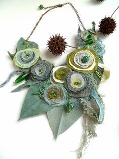 Morning beauty XVII, fiber art green necklace as seen In Autumn 2011 Belle Armoire Jewelry Magazine. $65.00, via Etsy.