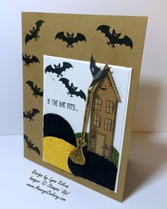 There is the cutest little stamp set in the holiday catalog called Tee Hee. Witches dress, shoes, bats, hats, cauldron, and best of all, some oh so cute phrases. I decided to mix this stamp set with the Holiday Home…