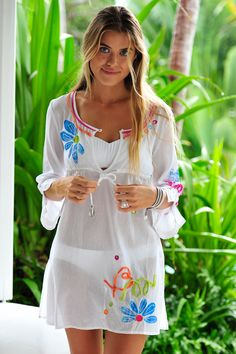 Coco Bay's Banana Moon Brentwood Beach kaftans from Banana Moon Swimwear are beautifully embroidered in grey and white. The detailing on these beach cover-ups make them really original and adaptable - these are definitely not just for the beach as they look great over a pair of jeans too