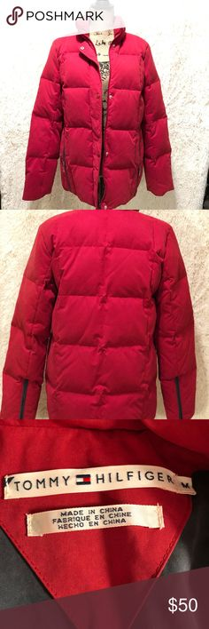 Tommy Hilfiger puff jacket EUC Tommy Hilfiger Red puffer jacket. Measurements in pictures Tommy Hilfiger Jackets & Coats Puffers