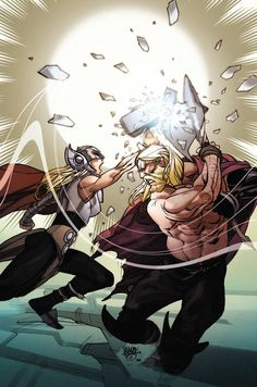 Odinson (Thor Odinson) vs. Thor (Jane Foster) | art by Pasqual Ferry