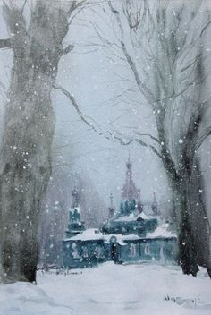 Winter in Russia, don't know the artist. Traditional Paintings, Traditional Art, Timberwolf, Watercolor Landscape, Watercolor Artists, Photos, Pictures, Art World, Painting & Drawing