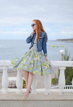 floral dress and denim jacket