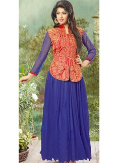 Blue Net Gown With Zari Work