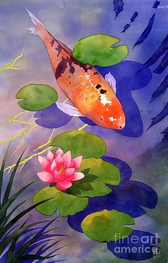 Choose your favorite koi fish watercolor paintings from millions of available designs. All koi fish watercolor paintings ship within 48 hours and include a money-back guarantee. Watercolor Paintings For Sale, Koi Painting, Watercolor Fish, Garden Painting, Mermaid Paintings, Watercolor Lesson, Koi Art, Fish Art, Carpe Coi