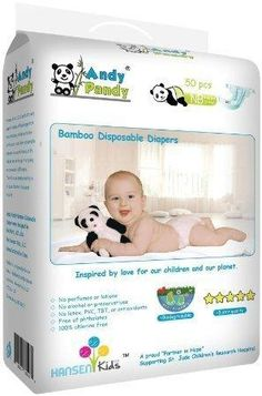 Andy Pandy Biodegradable Bamboo Disposable Diapers Newborn 50 Count-Pack
