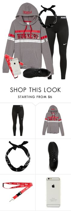 """""""Nebraska baseball game today! We won!❤️⚾️"""" by ambermillard ❤ liked on Polyvore featuring NIKE and aminco"""