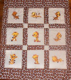 Giraffe Quilt it is aprox. 42 x 49. by DizziFrog on Etsy, $75.00