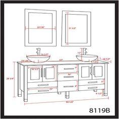 "63 Inch Espresso Wood & Glass Double Sink Bathroom Vanity Set- ""Oregon"" (Brushed Nickel Faucets) Double Sink Bathroom, Bathroom Sink Vanity, Bathroom Layout, Small Bathroom, Vanity Set, Washroom Design, Toilet Design, Bathroom Interior Design, Bathroom Floor Plans"