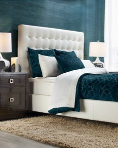 Cerulean is the ideal hue for a chic bedroom. It's comfortable, relaxing, and elegant.  Shop this hue now on zgallerie.com.
