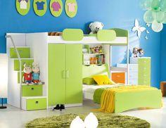 Etagenbett GEKO + Bett + Treppe + Kleiderschrank