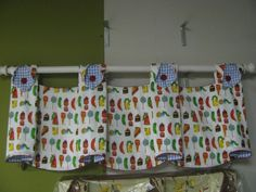 "Julia-style valance in ""The Very Hungry Caterpillar"" fabric with blue & white gingham and red trim and buttons. Created for a baby boy's nursery. Hungry Caterpillar Nursery, Very Hungry Caterpillar, Window Styles, Valance Curtains, Valance Ideas, Baby Boy Nurseries, Well Dressed, Slipcovers, Window Treatments"
