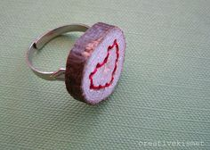 embroidered wood heart ring by Regina (creative kismet), via Flickr