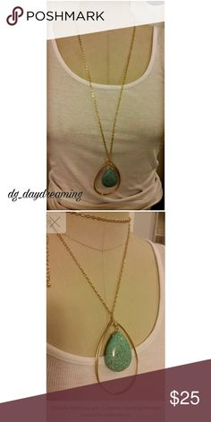 """Necklace with Turquoise Teardrop Pendant Goldtone necklace with turquoise teardrop pendant.  Chain hangs 15"""" with a 3"""" extension.  Pendant measures 3""""in length. 21"""" fully extended. Jewelry Necklaces"""