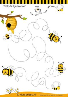 Schrijfpatroon bijen , kleuteridee.nl , thema bijen voor kleuters, bees writing…