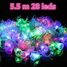 Christmas party 5.5 m 28 leds waterproof Garl LED Sl bell ts Colorful icludig EU plug 220V free shippi
