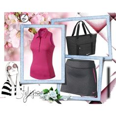All Nike Ladies Golf Style by lorisgolfshoppe on Polyvore featuring Nike Golf Shirt, Skort, and Tote Bag!