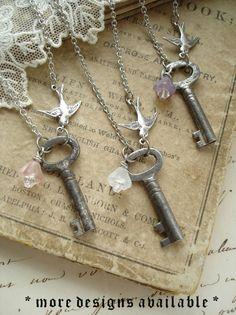 SECRET GARDEN - Antique Skeleton Key Necklace. Vintage Key Necklace, Silver Bird, Pink Flower. Rustic, Romantic, Shabby, Upcycled Jewelry.. $32.50, via Etsy.
