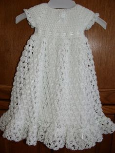 Free Crochet Christening Gown   ... crocheted baby blessing christening dress by babysewsoft on etsy: