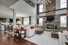 Host a holiday party in this ideal gathering space from the Tanglewood Hills, Duke Carolina model home, in Illinois.
