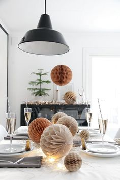 Honeycombs are back in style as seen here in this table decor