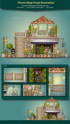 Florist Shop Front Illustration - Buildings Objects
