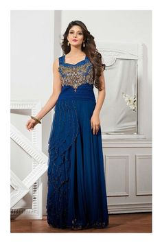 BLUE EMBROIDERY WORKGOWN @Planeteves.com