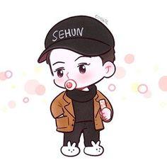Cre: the owner/as logo Chanyeol, Baekhyun Fanart, Kpop Fanart, Exo Chen, K Pop, Kai, Exo Cartoon, Exo Anime, Sehun Cute