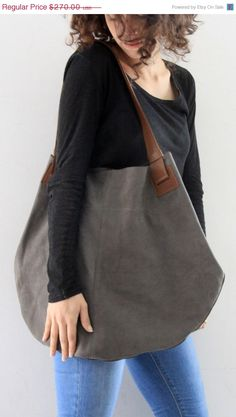Grey  Leather Tote Bag Soft Leather Bag  Tote Bag by LadyBirdesign