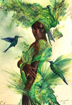Yoruba Goddess Drawing - Aja by Bernadett Bagyinka